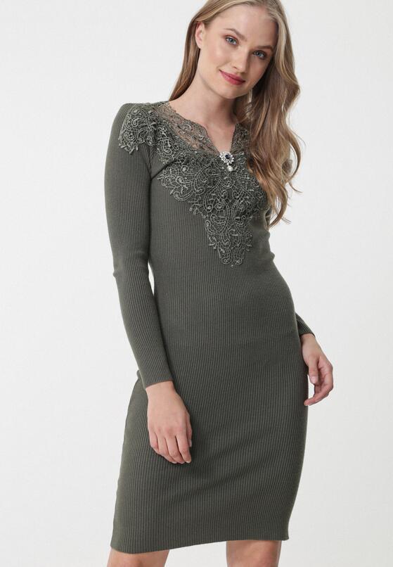 Oliwkowa Sukienka Longueville