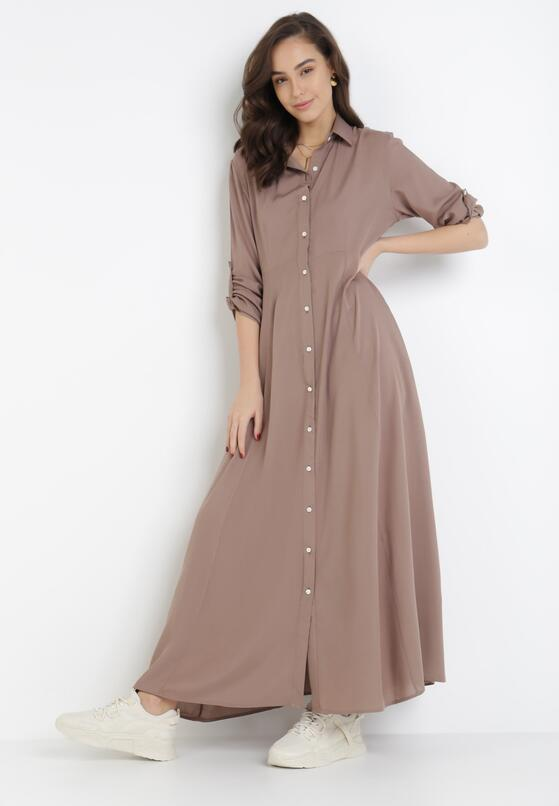 Ciemnobeżowa Sukienka Controllable