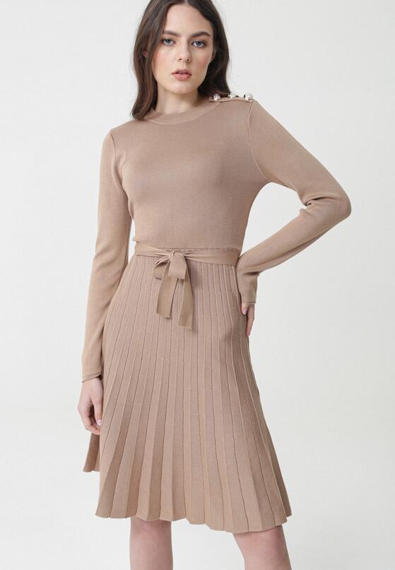 Ciemnobeżowa Sukienka Myuna