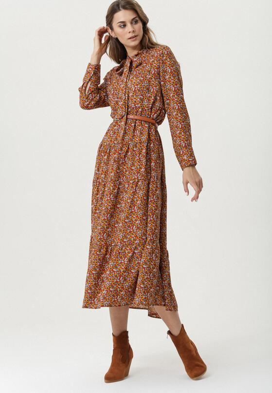 Brązowo-Żółta Sukienka Healy