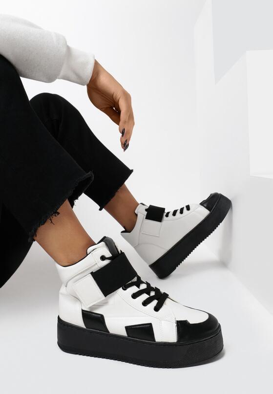Czarno-Białe Sneakersy Lubna