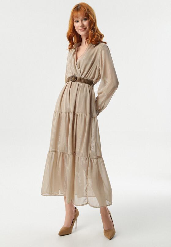 Jasnobeżowa Sukienka Stacy