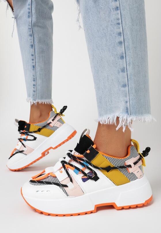Biało-Pomarańczowe Sneakersy Kerokeis