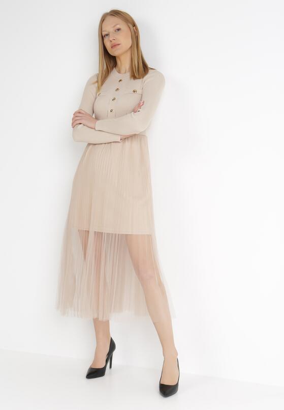 Beżowa Sukienka Heila