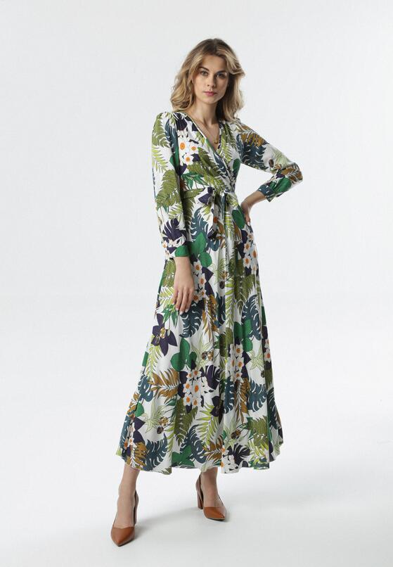 Biało-Zielona Sukienka Ihrone