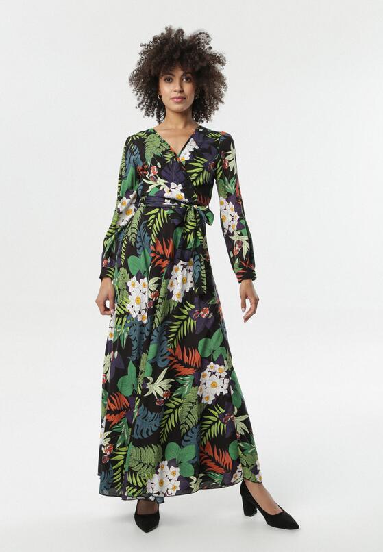 Czarno-Zielona Sukienka Ihrone