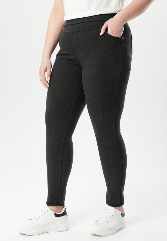 Czarne Spodnie Jegginsy Olesesis