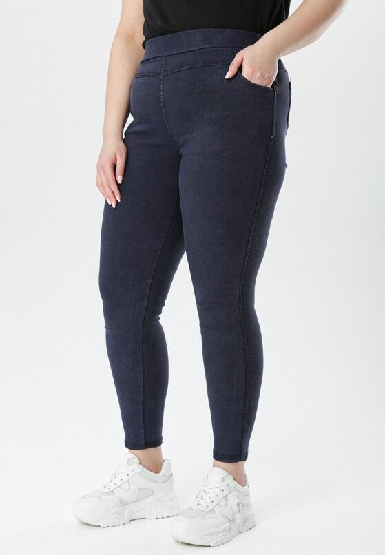 Granatowe Spodnie Jegginsy Olesesis