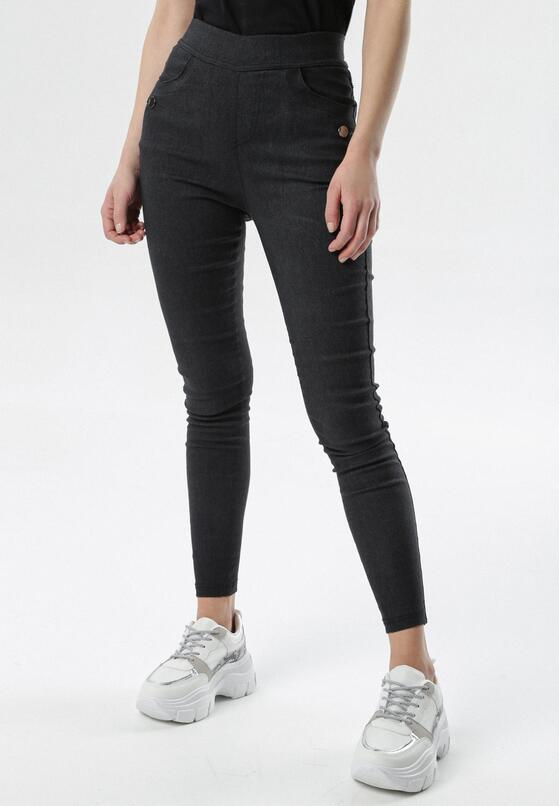 Czarne Spodnie Jegginsy Petithilei