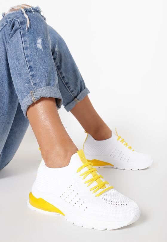 Biało-Żółte Buty Sportowe Arishell