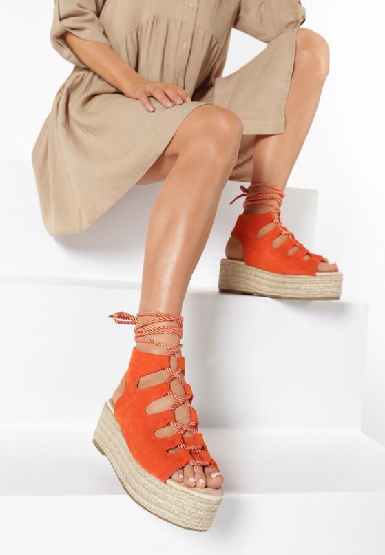 Pomarańczowe Sandały Synasia