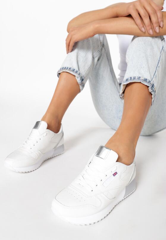 Biało Srebrne Buty Sportowe Neanara