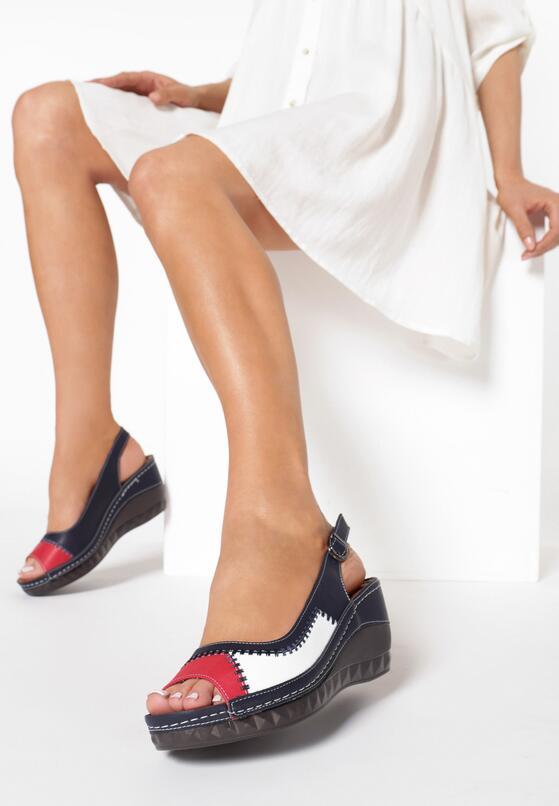 Granatowo-Czerwone Sandały Clalina