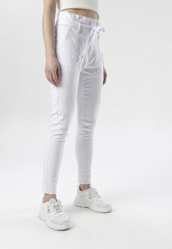 Białe Jeansy Paper Bag Delana
