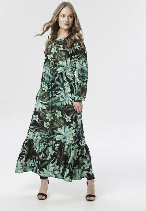 Czarno-Zielona Sukienka Peirila