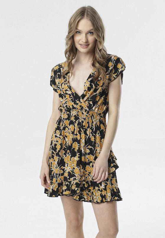 Czarno-Żółta Sukienka Melohaneh