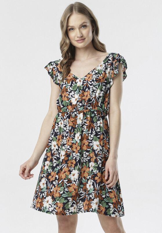 Granatowo-Beżowa Sukienka Aethilopei