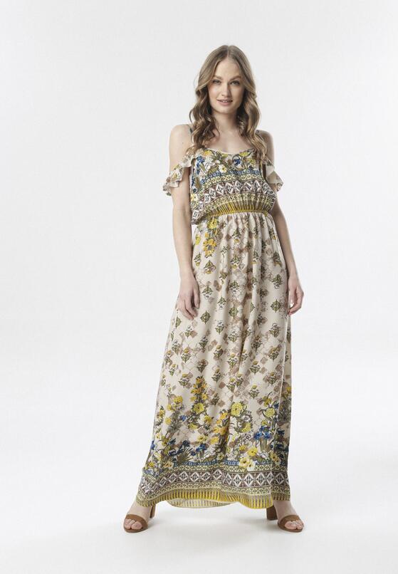 Jasnobeżowa Sukienka Aerethia