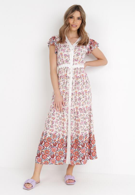 Biało-Różowa Sukienka Limokea