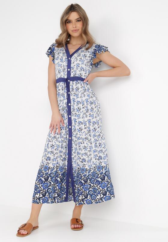 Biało-Niebieska Sukienka Limokea