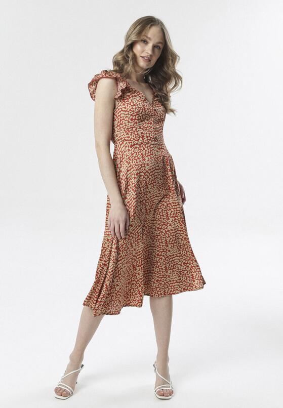 Czerwono-Beżowa Sukienka Phiomellia