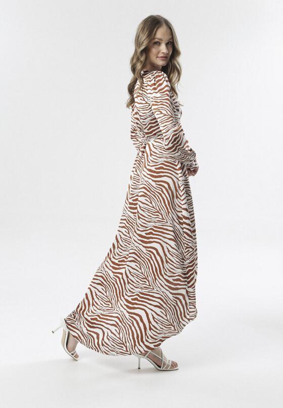 Biało-Brązowa Sukienka Metiogonia