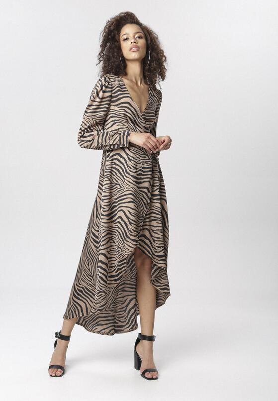 Beżowo-Czarna Sukienka Euphesea