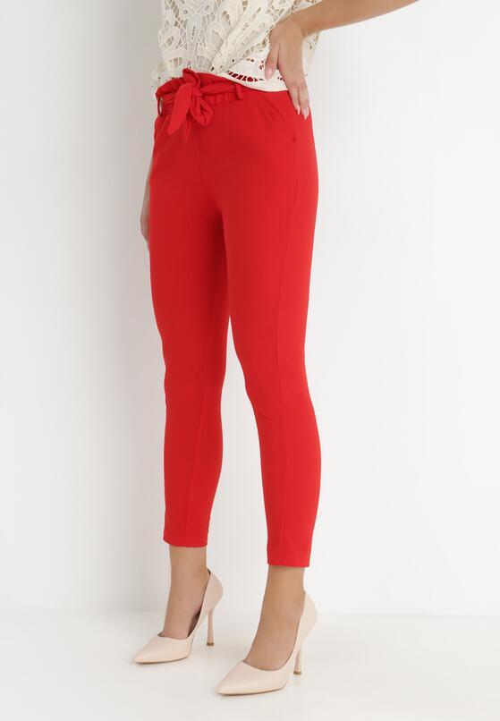 Czerwone Spodnie Paper Bag Rhaeneira