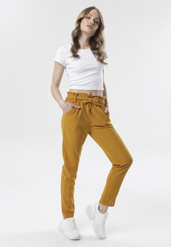Żółte Spodnie Paper Bag Rhaeneira
