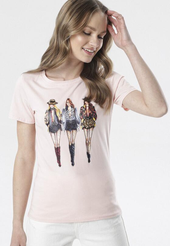Jasnoróżowy T-shirt Aquiciane