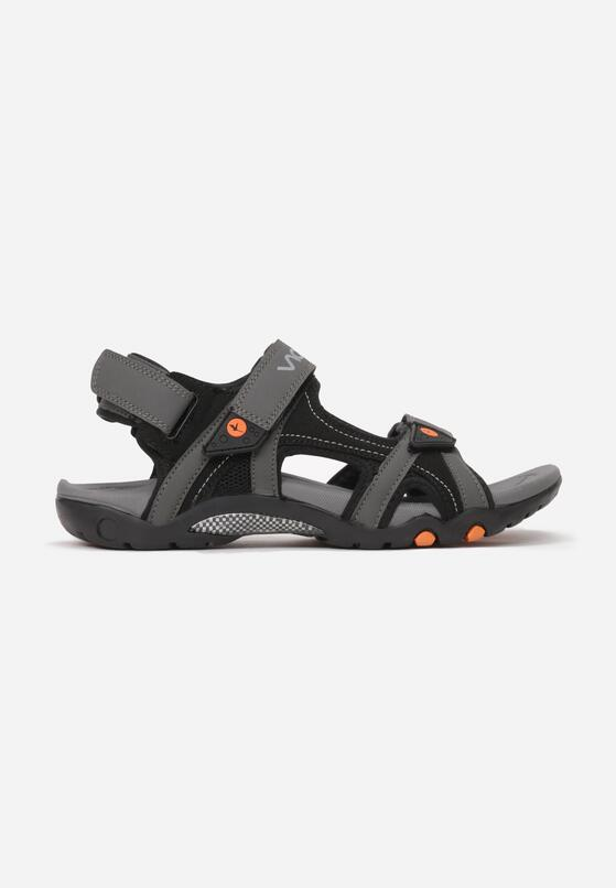 Szaro-Czarne Sandały Aerefa