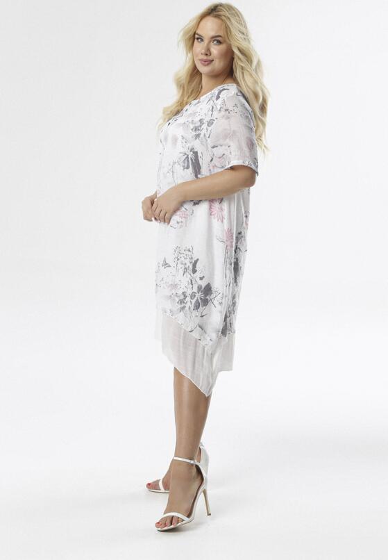 Biało-Szara Sukienka Coraeriel