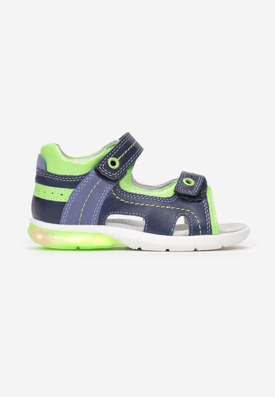 Granatowo-Zielone Skórzane Sandały Genirial