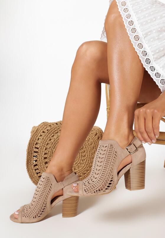 Beżowe Ażurowe Sandały Delomeda