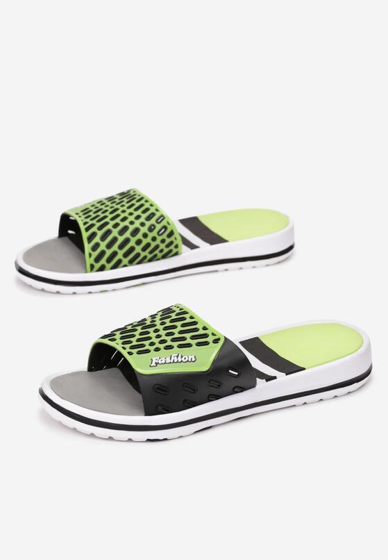 Czarno-Zielone Klapki Aemara