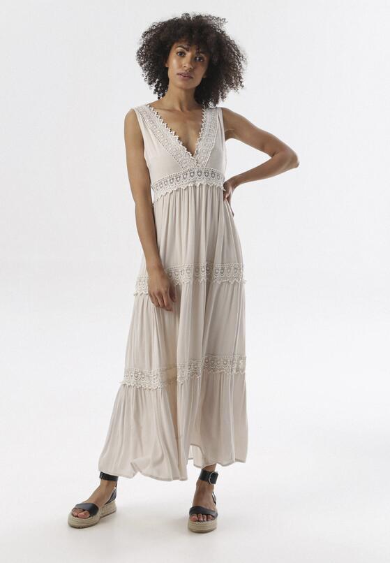 Jasnobeżowa Sukienka Kahlidise