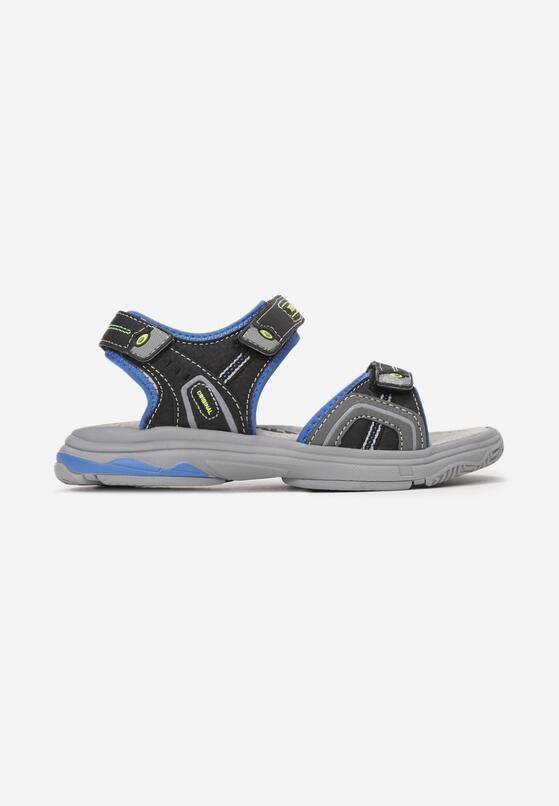 Czarno-Niebieskie Sandały Amalure