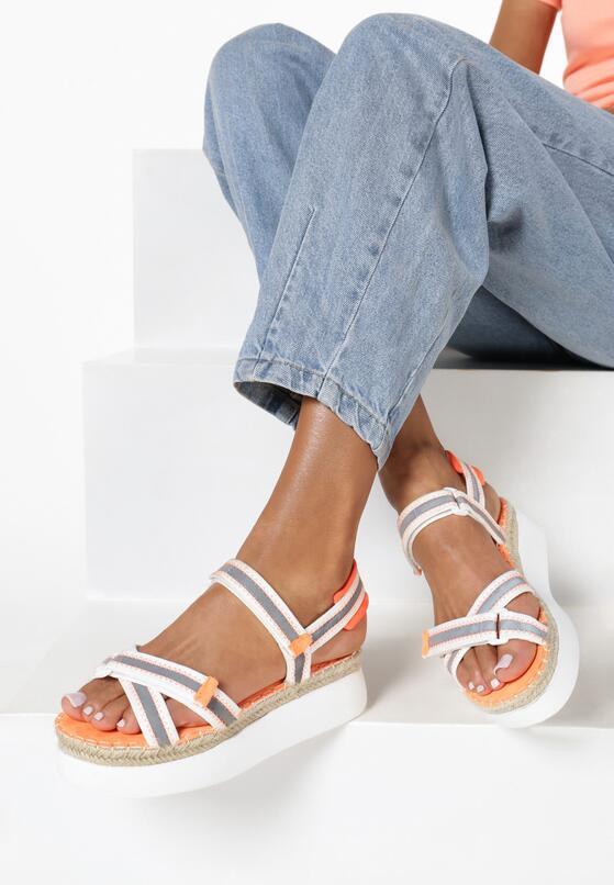 Biało-Pomarańczowe Sandały Naulin