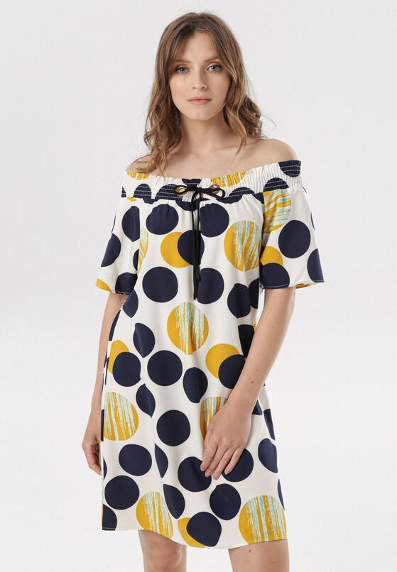 Biało-Żółta Sukienka Meririan