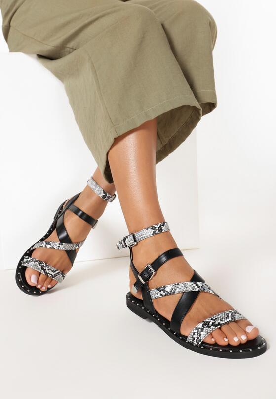 Czarne Wężowe Sandały Sagitta