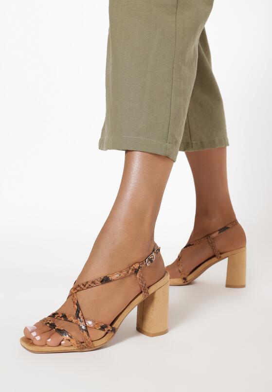 Beżowe Wężowe Sandały Aquanore