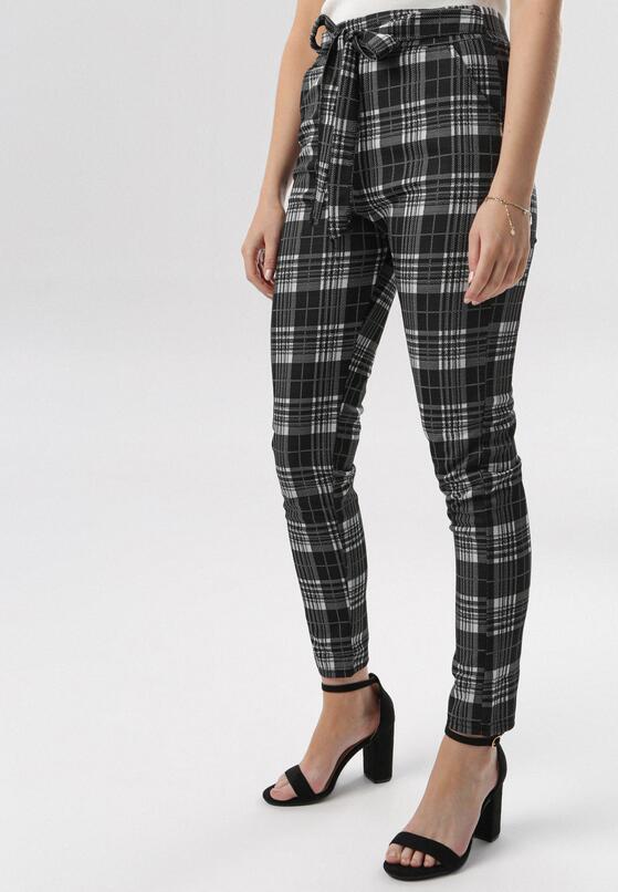 Czarno-Białe Spodnie Nedamea