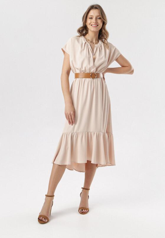 Jasnobeżowa Sukienka Meniseise