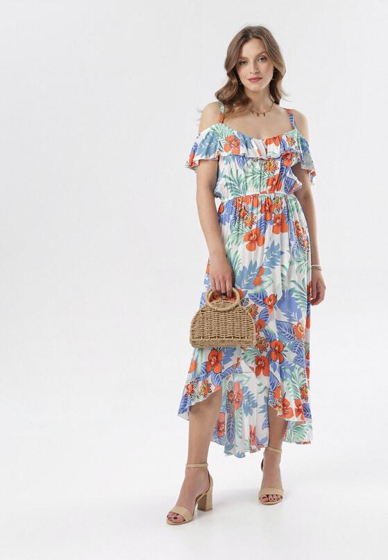 Biało-Niebieska Sukienka Alcilane