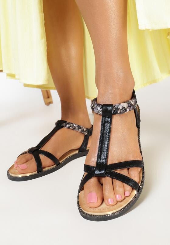 Czarne Sandały Mysseis