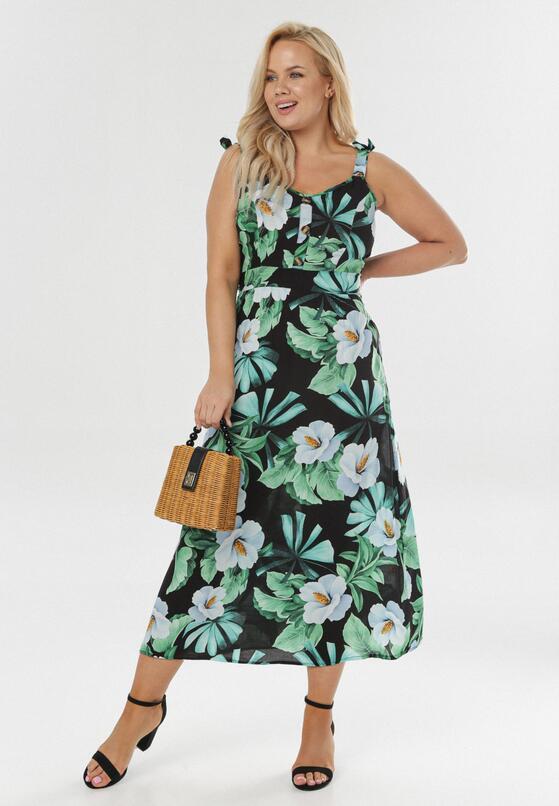 Czarno-Zielona Sukienka Poreirise