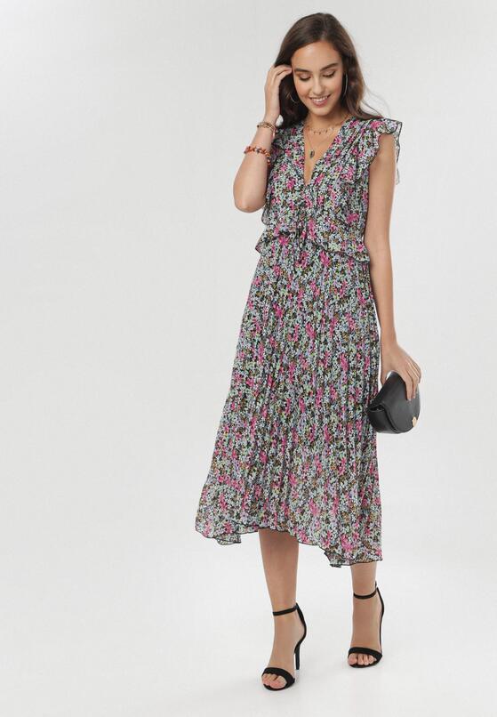 Granatowo-Różowa Sukienka Daphiris