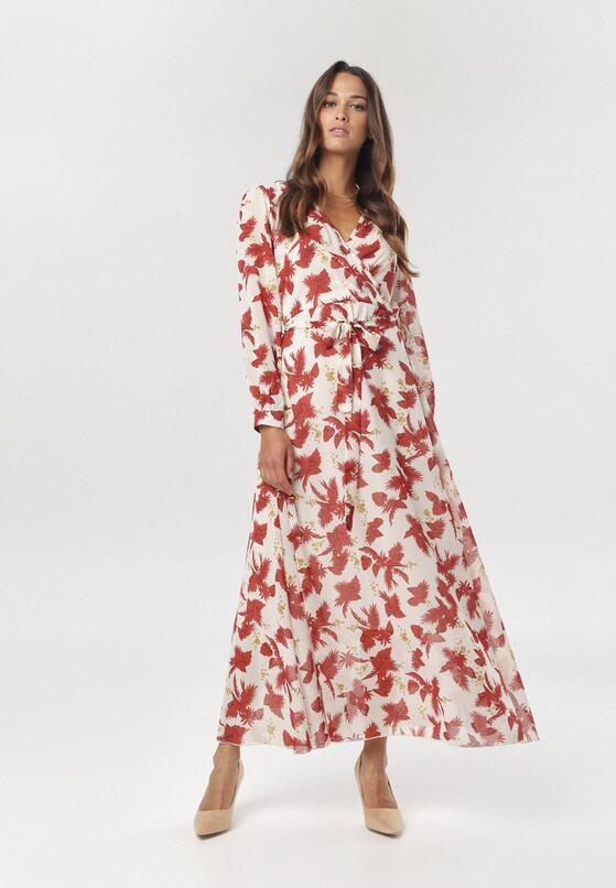 Kremowo-Bordowa Sukienka Doryrianne