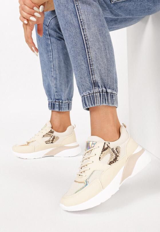 Beżowe Sneakersy Klenoire