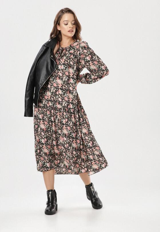 Czarno-Różowa Sukienka Mayarena